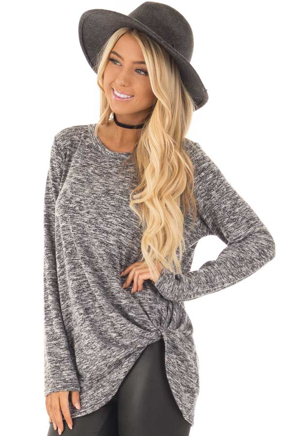 Charcoal Two Tone Long Sleeve Top with Twisted Side Knot front close up