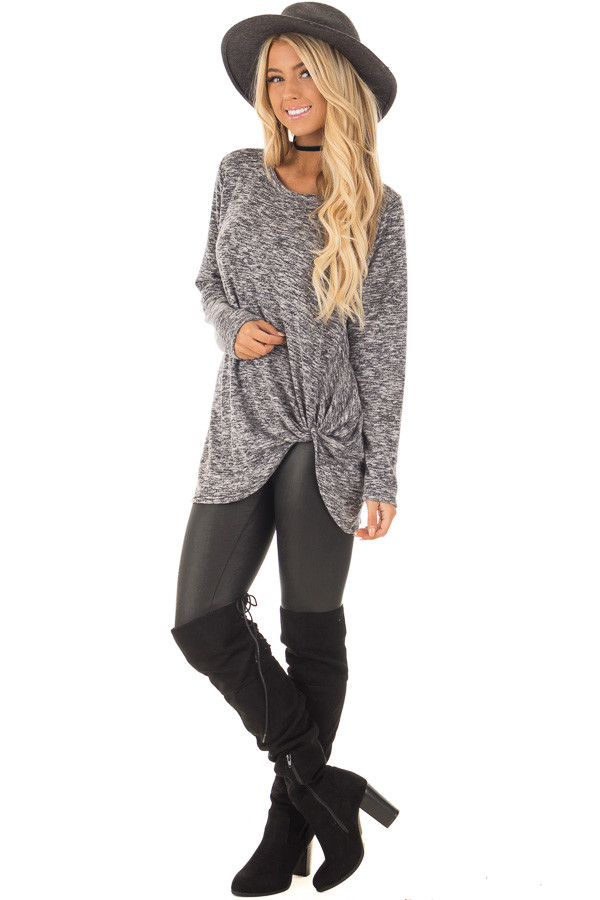 Charcoal Two Tone Long Sleeve Top with Twisted Side Knot front full body