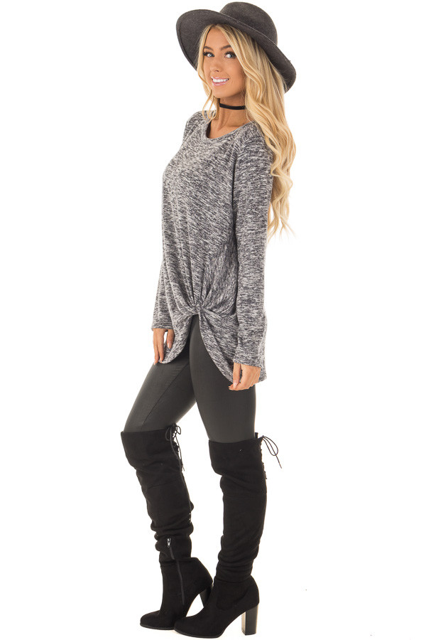 Charcoal Two Tone Long Sleeve Top with Twisted Side Knot side full body