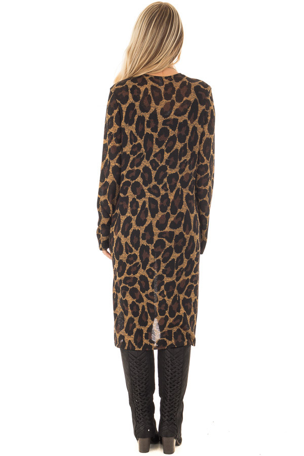 Leopard Print Long Sleeve Cardigan with Side Pockets back full body