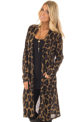 Leopard Print Long Sleeve Cardigan with Side Pockets front close up