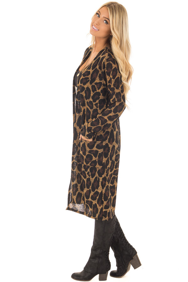 Leopard Print Long Sleeve Cardigan with Side Pockets side full body