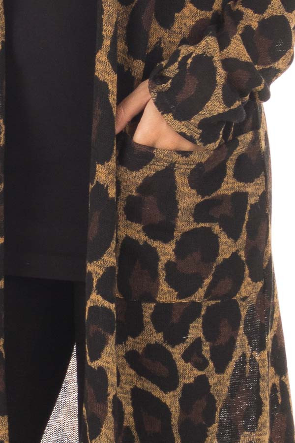 Leopard Print Long Sleeve Cardigan with Side Pockets detail