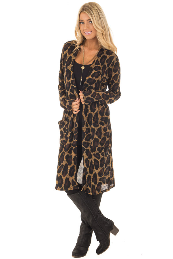 Leopard Print Long Sleeve Cardigan with Side Pockets front full body