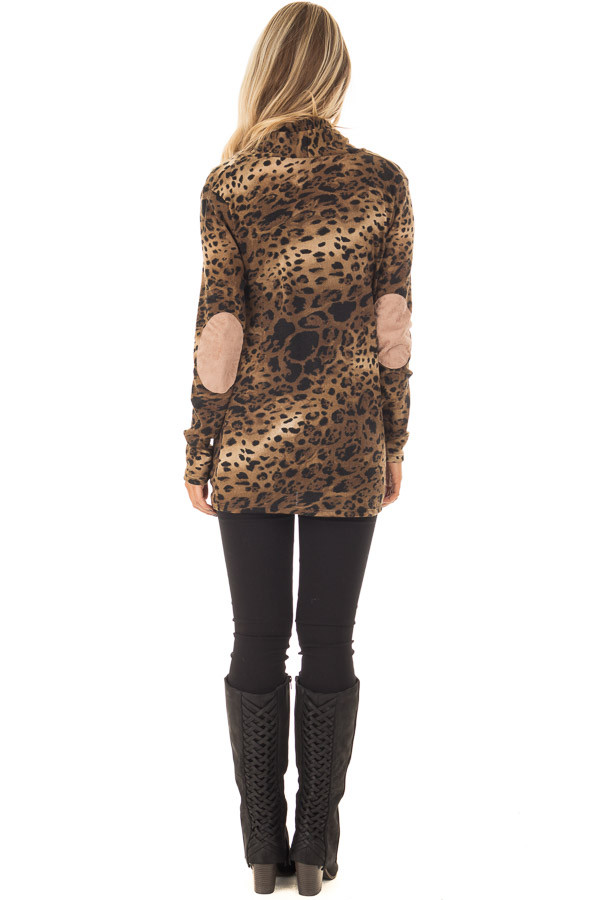 Cheetah Print Cardigan with Faux Suede Elbow Patch Detail back full body