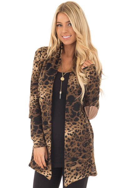 Cheetah Print Cardigan with Faux Suede Elbow Patch Detail closeup