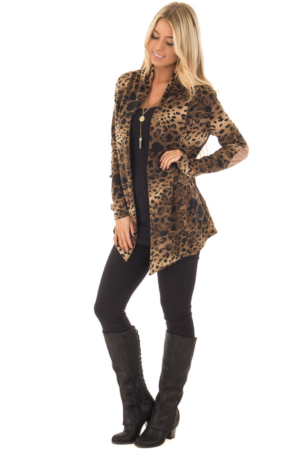Cheetah Print Cardigan with Faux Suede Elbow Patch Detail front full body