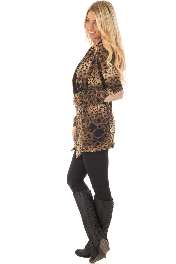Cheetah Print Cardigan with Faux Suede Elbow Patch Detail side full body