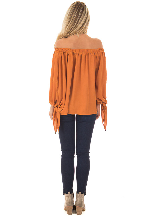Amber Textured Silk Off the Shoulder Top back full body