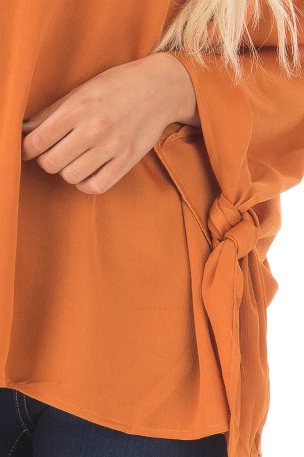 Amber Textured Silk Off the Shoulder Top front detail