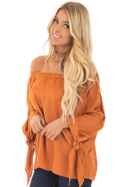 Amber Textured Silk Off the Shoulder Top closeup