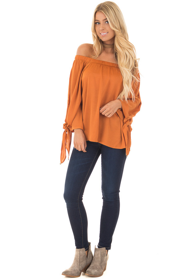 Amber Textured Silk Off the Shoulder Top front full body