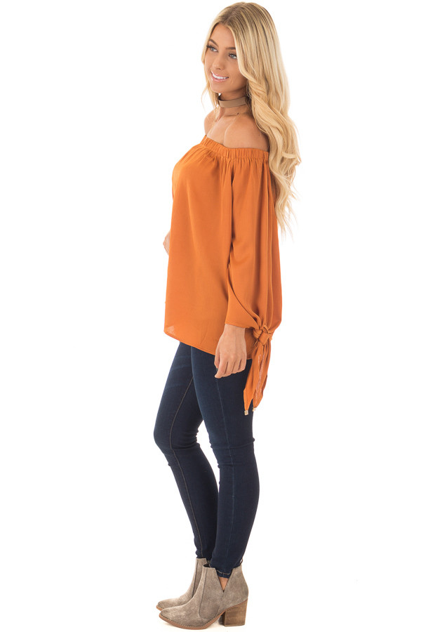 Amber Textured Silk Off the Shoulder Top side full body
