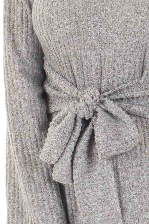 Cloud Grey Bell Sleeve Cut Out V Neck with Waist Tie Detail front detail