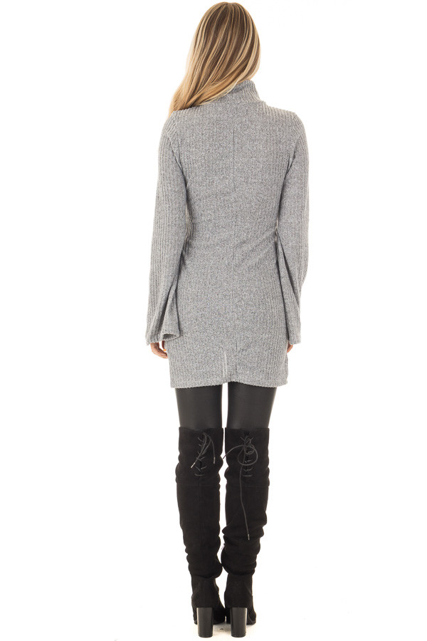 Cloud Grey Bell Sleeve Cut Out V Neck with Waist Tie Detail back full body