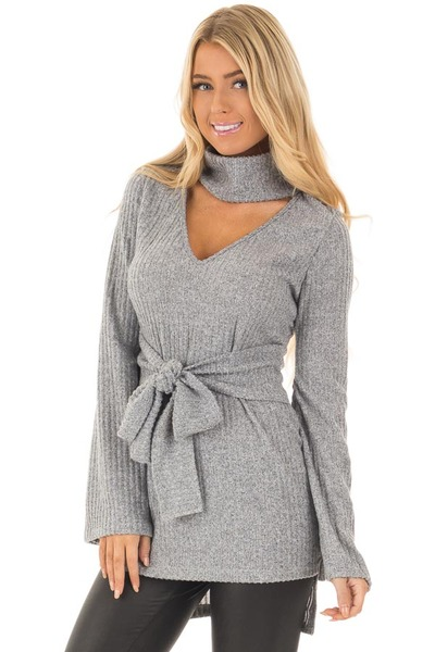 Cloud Grey Bell Sleeve Cut Out V Neck with Waist Tie Detail closeup