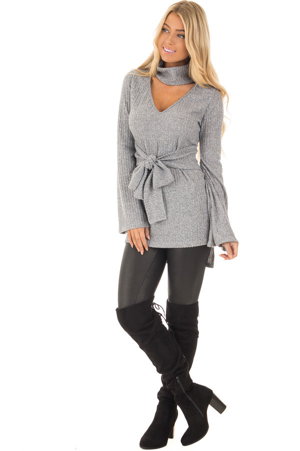 Cloud Grey Bell Sleeve Cut Out V Neck with Waist Tie Detail front full body