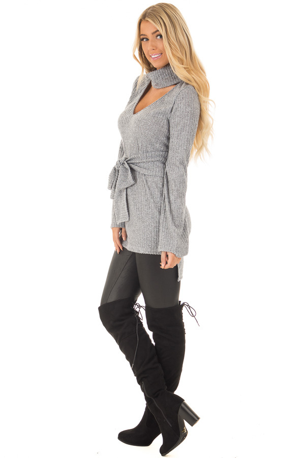 Cloud Grey Bell Sleeve Cut Out V Neck with Waist Tie Detail side full body
