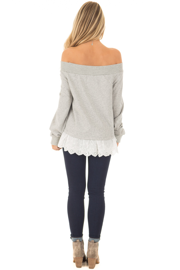 Heather Grey Off the Shoulder Sweater with Lace Detail back full body