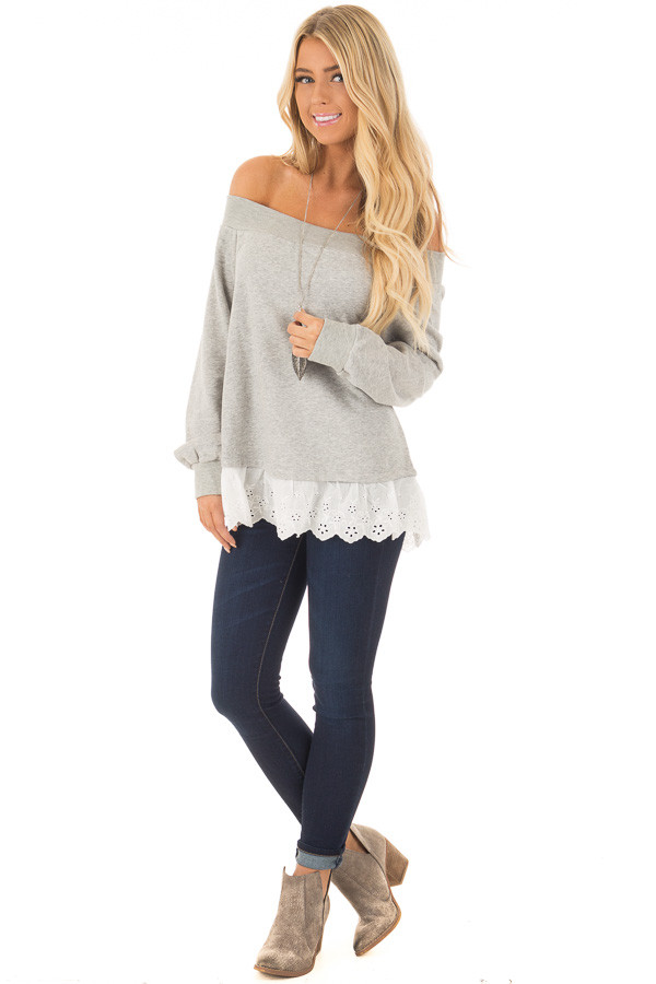 Heather Grey Off the Shoulder Sweater with Lace Detail front full body