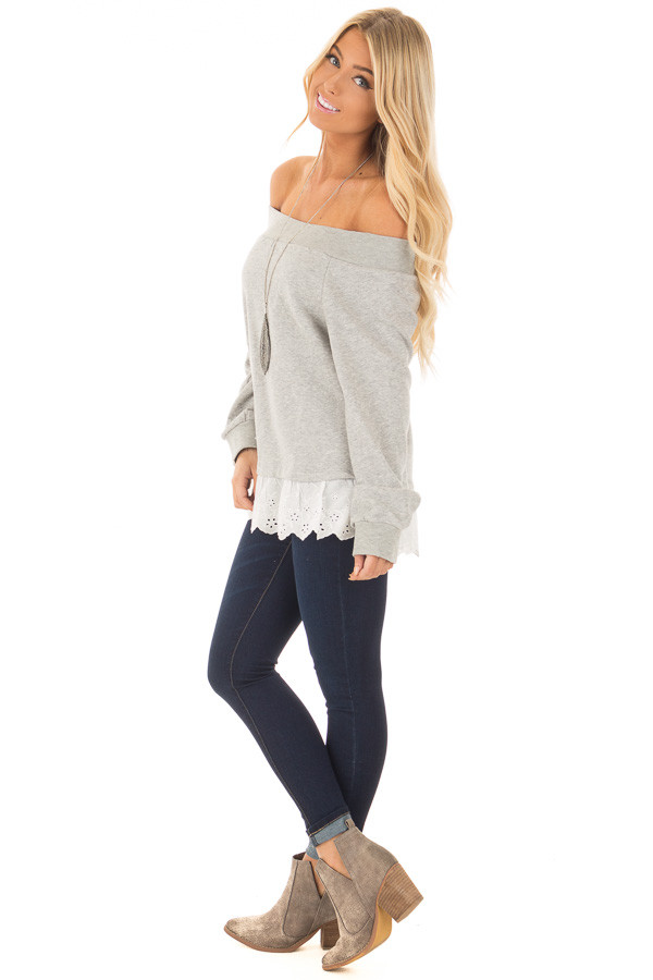 Heather Grey Off the Shoulder Sweater with Lace Detail side full body
