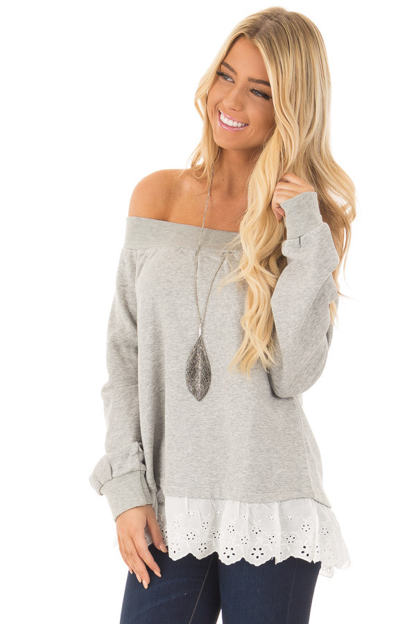 Heather Grey Off the Shoulder Sweater with Lace Detail closeup