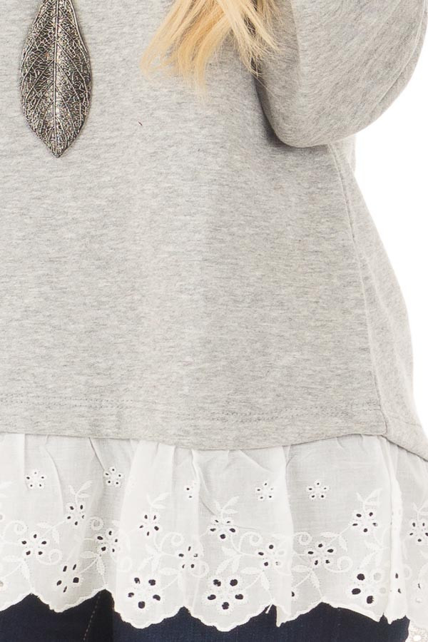 Heather Grey Off the Shoulder Sweater with Lace Detail front detail