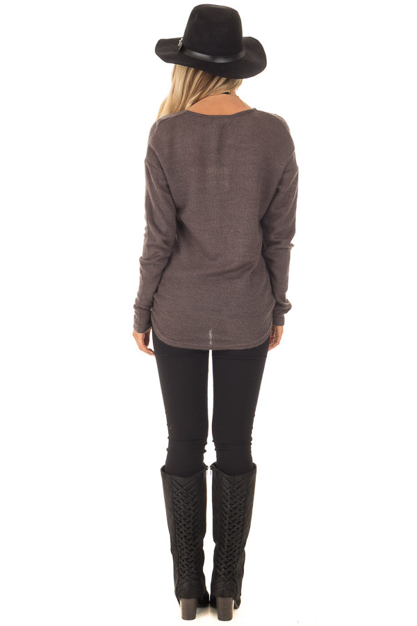 Charcoal Waffle Knit Crossover Drape Long Sleeve Top back full body