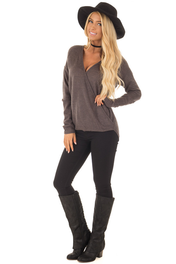 Charcoal Waffle Knit Crossover Drape Long Sleeve Top front full body
