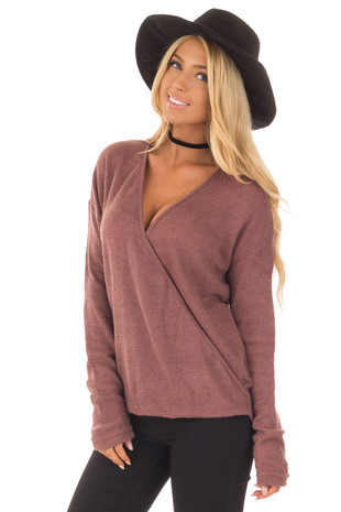Mauve Waffle Knit Crossover Drape Long Sleeve Top front close up