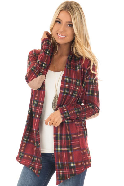 Burgundy Plaid Cardigan with Faux Suede Elbow Patches front closeup