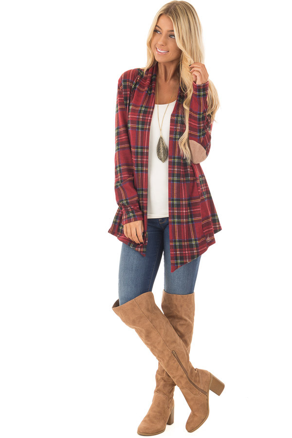 Burgundy Plaid Cardigan with Faux Suede Elbow Patches front full body