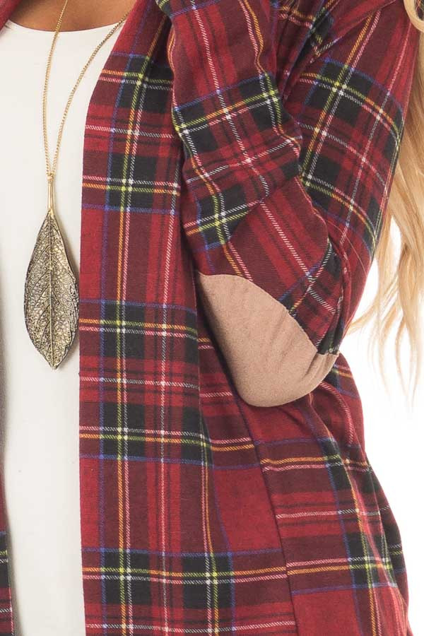 Burgundy Plaid Cardigan with Faux Suede Elbow Patches front detail