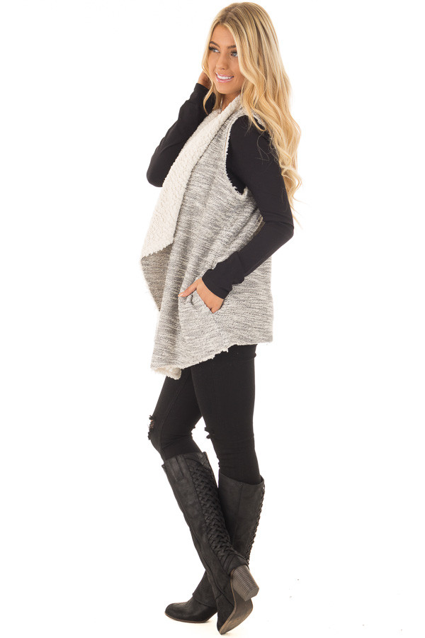 Grey Two Tone Sweater Vest with Plush Faux Fur Lining side full body