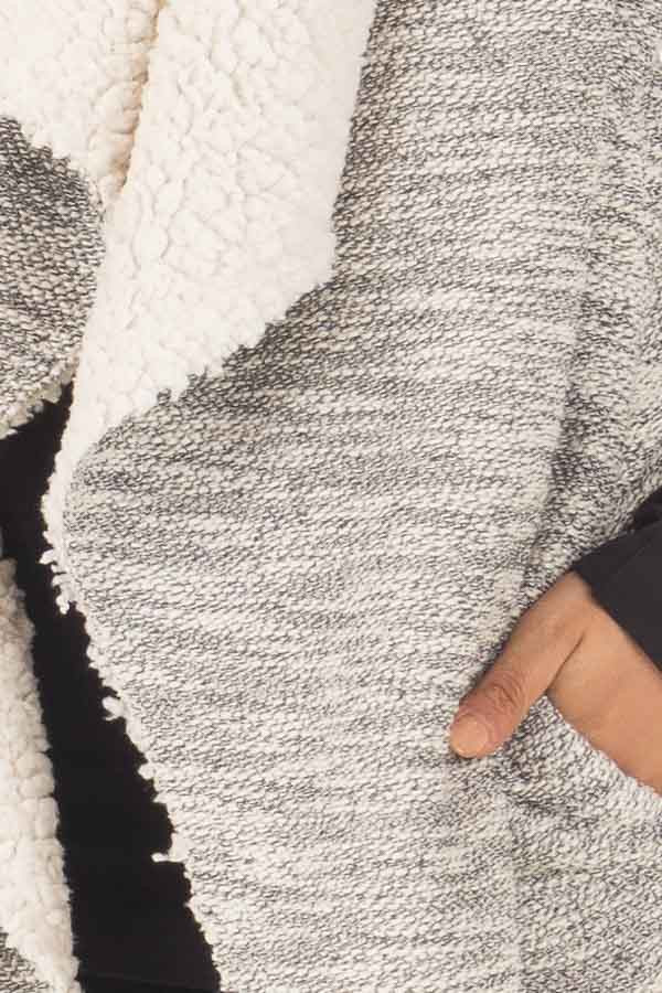Grey Two Tone Sweater Vest with Plush Faux Fur Lining detail