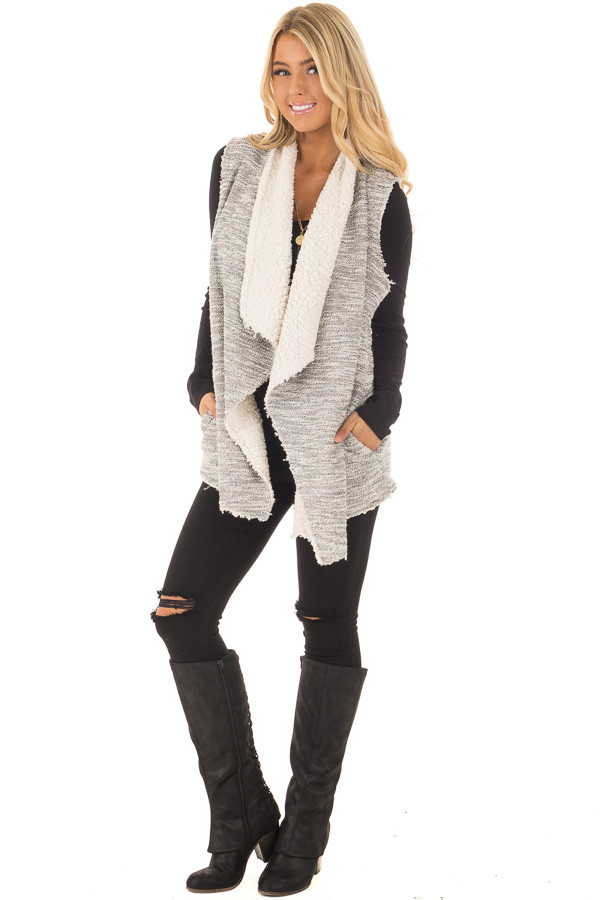 Grey Two Tone Sweater Vest with Plush Faux Fur Lining front full body