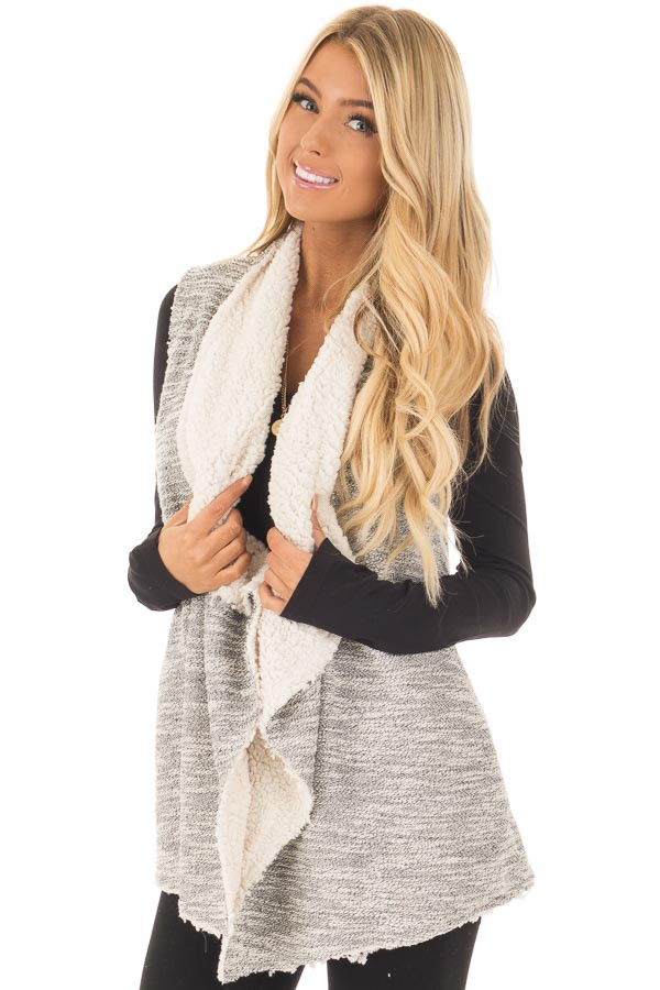 Grey Two Tone Sweater Vest with Plush Faux Fur Lining front close up