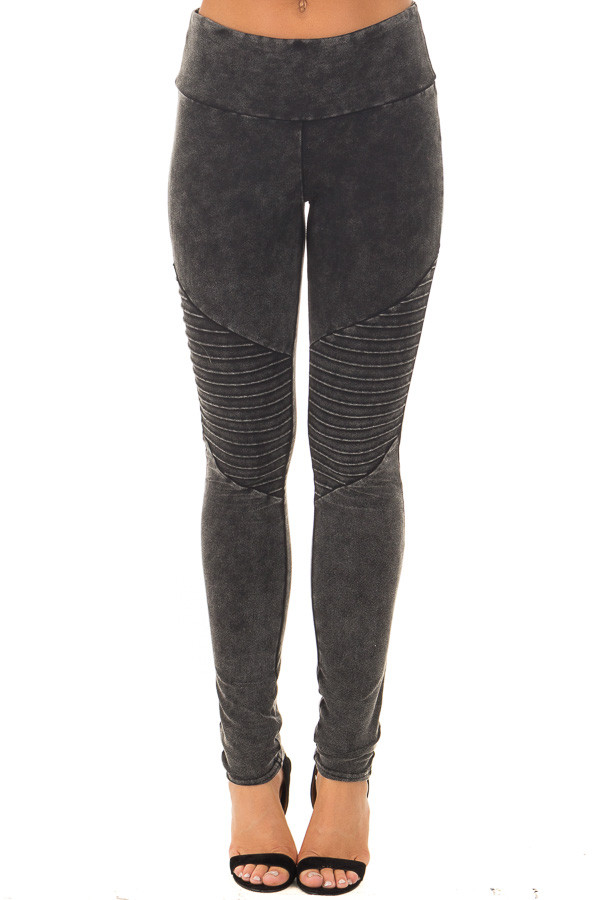 Black Acid Wash Moto Leggings front view