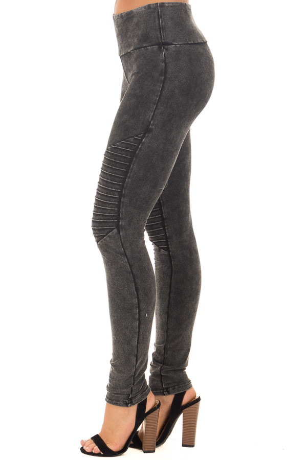 Black Acid Wash Moto Leggings side view