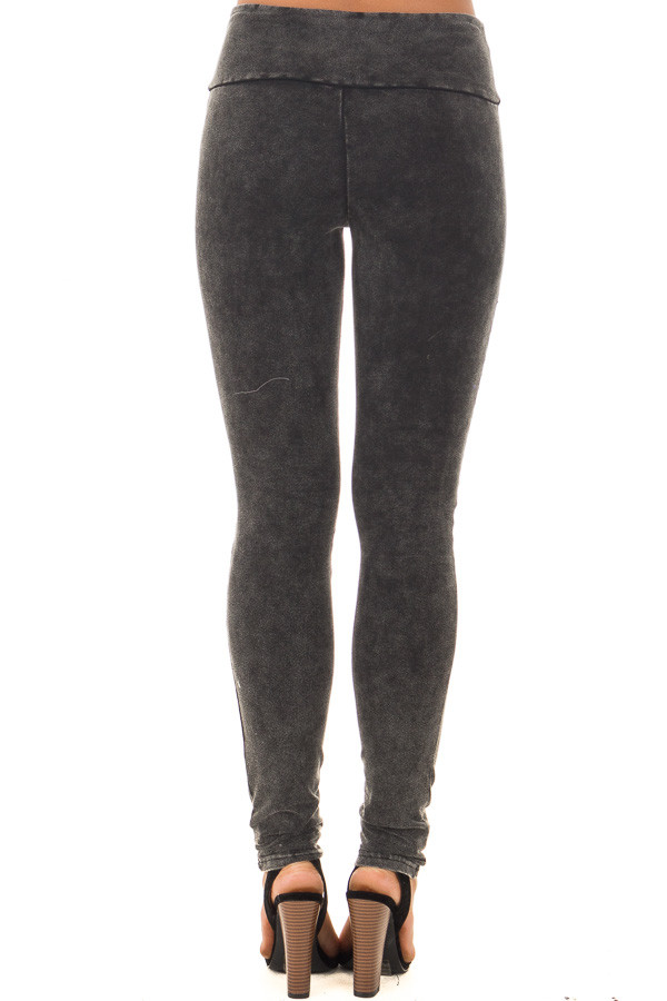 Black Acid Wash Moto Leggings back view