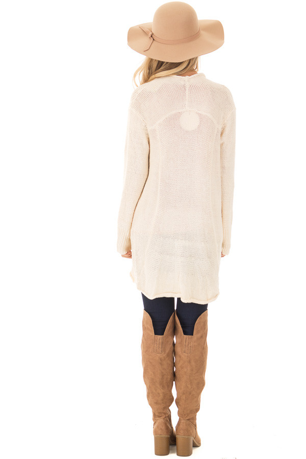 Beige Draped Open Knit Cardigan back full body