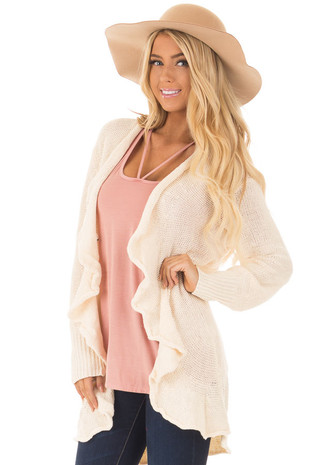 Beige Draped Open Knit Cardigan front closeup