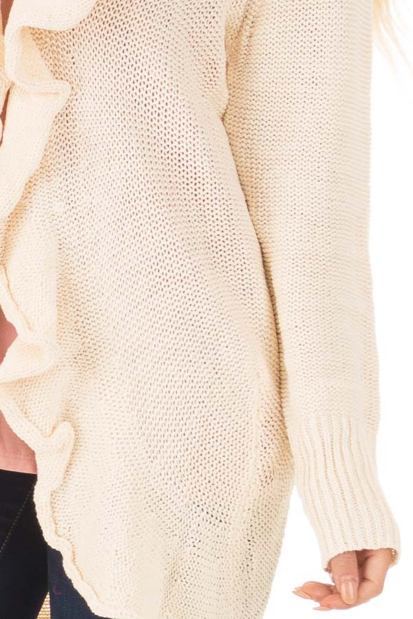 Beige Draped Open Knit Cardigan front detail