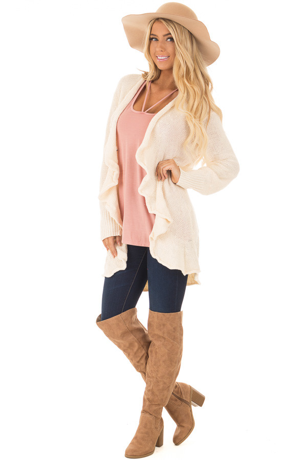 Beige Draped Open Knit Cardigan front full body