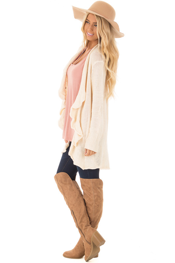 Beige Draped Open Knit Cardigan side full body