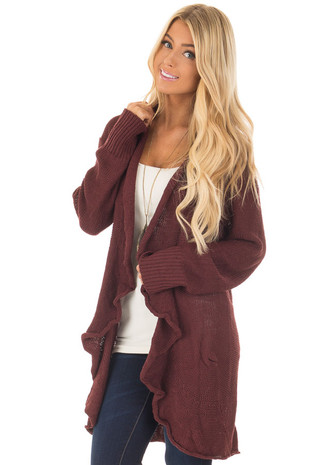 Wine Draped Open Knit Cardigan front closeup