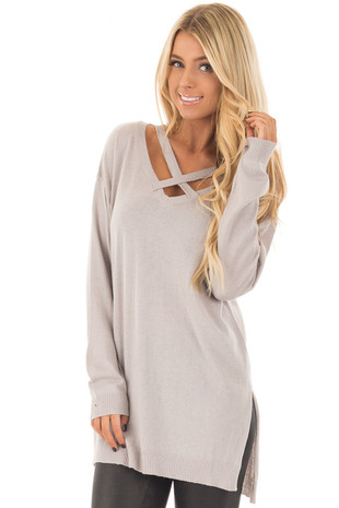 Heather Grey V Neck Criss Cross Long Sleeve Top front closeup