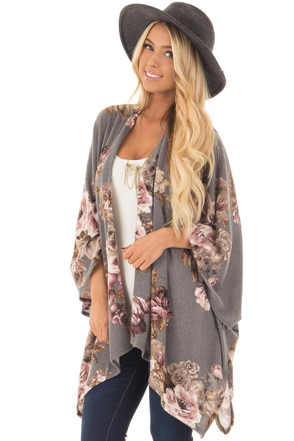 Charcoal Floral Print Short Sleeve Cardigan - Lime Lush Boutique