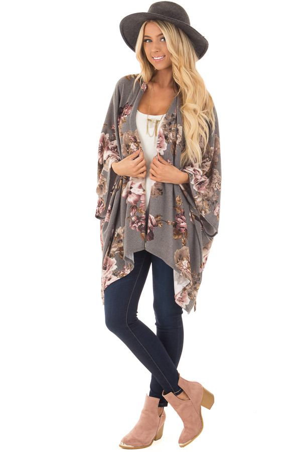 Charcoal Floral Print Short Sleeve Cardigan front full body