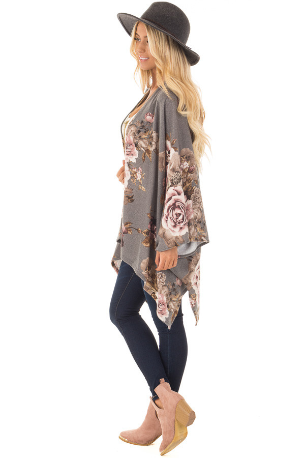 Charcoal Floral Print Short Sleeve Cardigan side full body